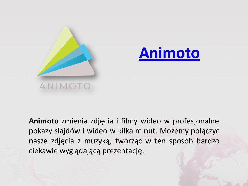 PhotoPeach PhotoPeach to darmowe narzędzie Web 2.0, za pomocą którego istnieje możliwość utworzenia wizualnej prezentacji w kilka sekund.