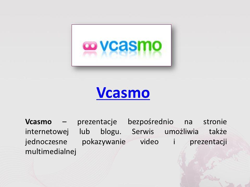 Vcasmo Vcasmo – prezentacje bezpośrednio na stronie internetowej lub blogu.