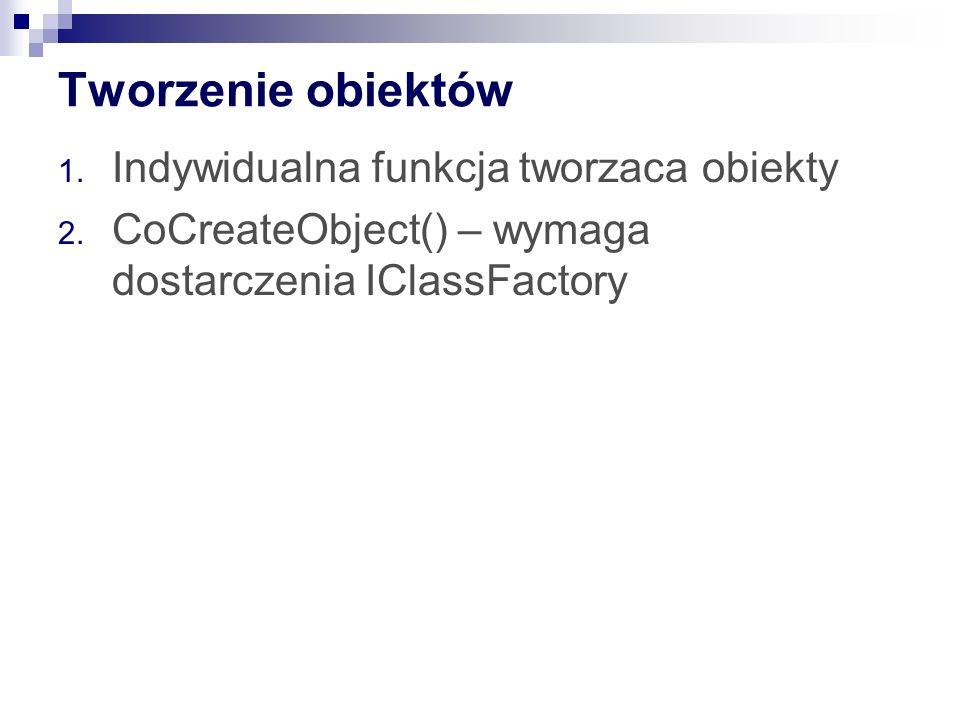 Tworzenie obiektów 1. Indywidualna funkcja tworzaca obiekty 2.