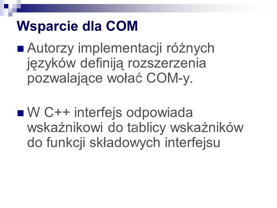 Wsparcie dla COM Autorzy implementacji różnych języków definiją rozszerzenia pozwalające wołać COM-y.