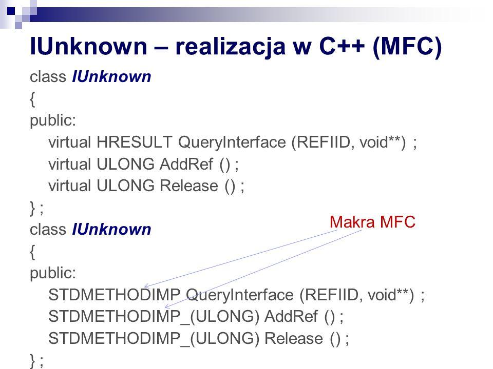 IUnknown – realizacja w C++ (MFC) class IUnknown { public: virtual HRESULT QueryInterface (REFIID, void**) ; virtual ULONG AddRef () ; virtual ULONG R