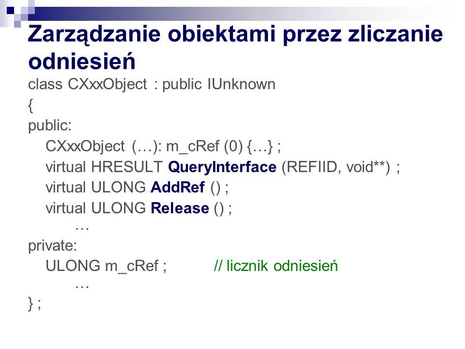 Zarządzanie obiektami przez zliczanie odniesień class CXxxObject : public IUnknown { public: CXxxObject (…): m_cRef (0) {…} ; virtual HRESULT QueryInterface (REFIID, void**) ; virtual ULONG AddRef () ; virtual ULONG Release () ; … private: ULONG m_cRef ; // licznik odniesień … } ;