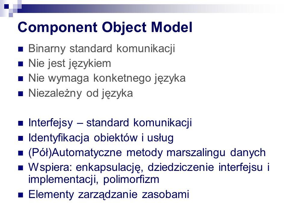 Component Object Model Binarny standard komunikacji Nie jest językiem Nie wymaga konketnego języka Niezależny od języka Interfejsy – standard komunikacji Identyfikacja obiektów i usług (Pół)Automatyczne metody marszalingu danych Wspiera: enkapsulację, dziedziczenie interfejsu i implementacji, polimorfizm Elementy zarządzanie zasobami