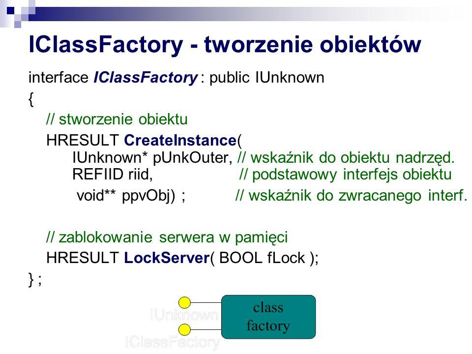 IClassFactory - tworzenie obiektów interface IClassFactory : public IUnknown { // stworzenie obiektu HRESULT CreateInstance( IUnknown* pUnkOuter, // wskaźnik do obiektu nadrzęd.