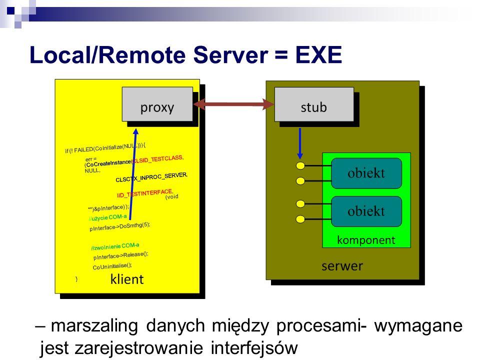 Local/Remote Server = EXE – marszaling danych między procesami- wymagane jest zarejestrowanie interfejsów if (.
