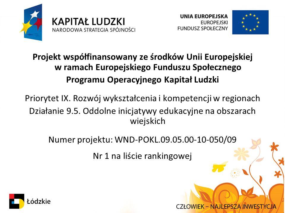 Projekt współfinansowany ze środków Unii Europejskiej w ramach Europejskiego Funduszu Społecznego Programu Operacyjnego Kapitał Ludzki Priorytet IX. R