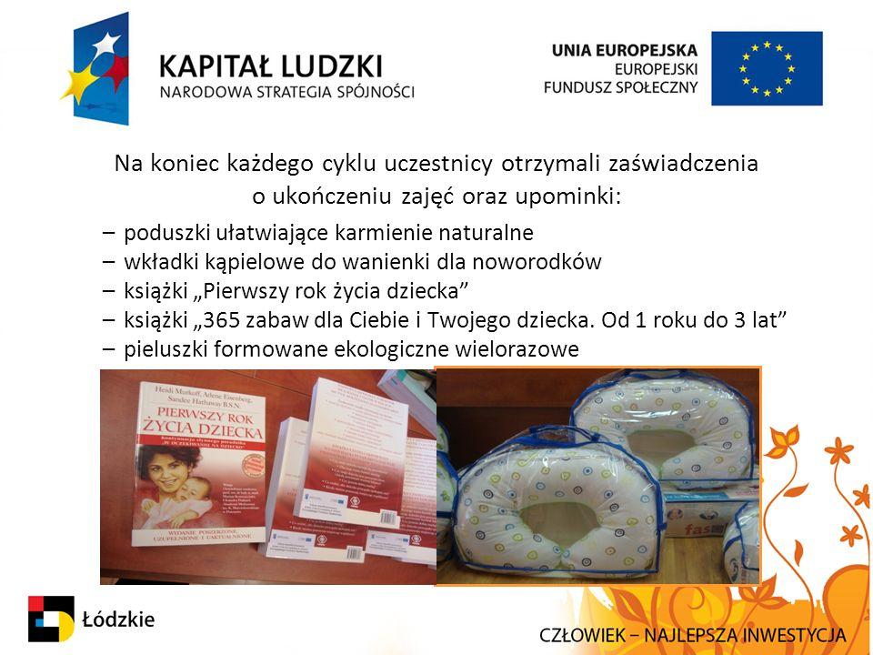 Na koniec każdego cyklu uczestnicy otrzymali zaświadczenia o ukończeniu zajęć oraz upominki: –poduszki ułatwiające karmienie naturalne –wkładki kąpiel