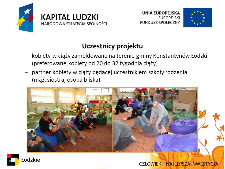 Uczestnicy projektu –kobiety w ciąży zameldowane na terenie gminy Konstantynów Łódzki (preferowane kobiety od 20 do 32 tygodnia ciąży) –partner kobiety w ciąży będącej uczestnikiem szkoły rodzenia (mąż, siostra, osoba bliska)