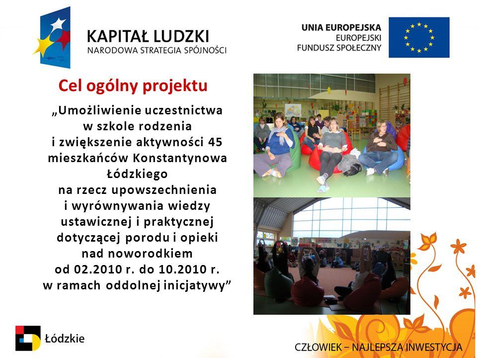 """Cel ogólny projektu """"Umożliwienie uczestnictwa w szkole rodzenia i zwiększenie aktywności 45 mieszkańców Konstantynowa Łódzkiego na rzecz upowszechnie"""