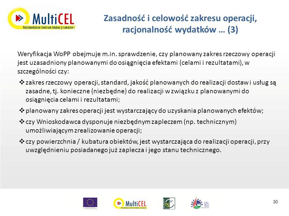 Weryfikacja WoPP obejmuje m.in.