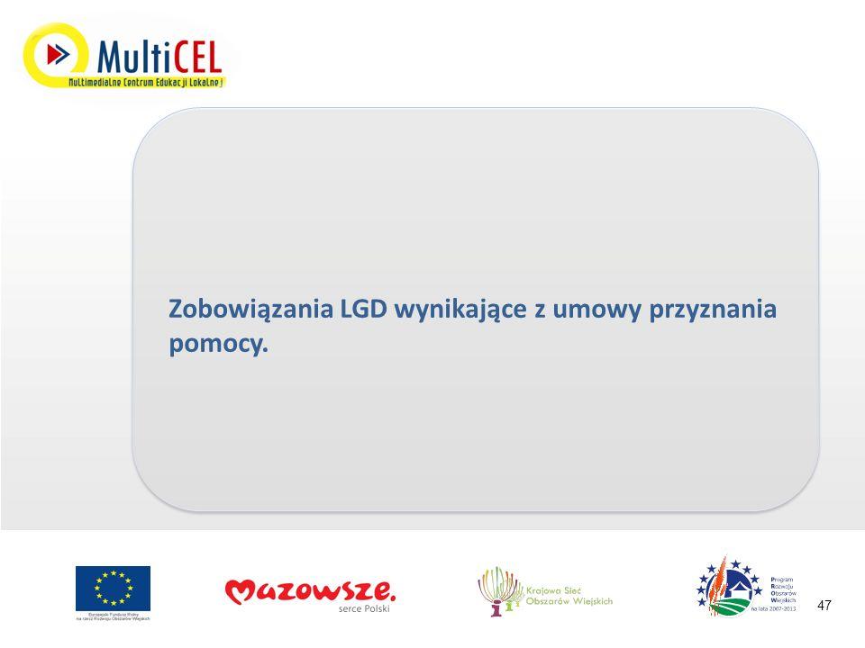 Zobowiązania LGD wynikające z umowy przyznania pomocy. 47
