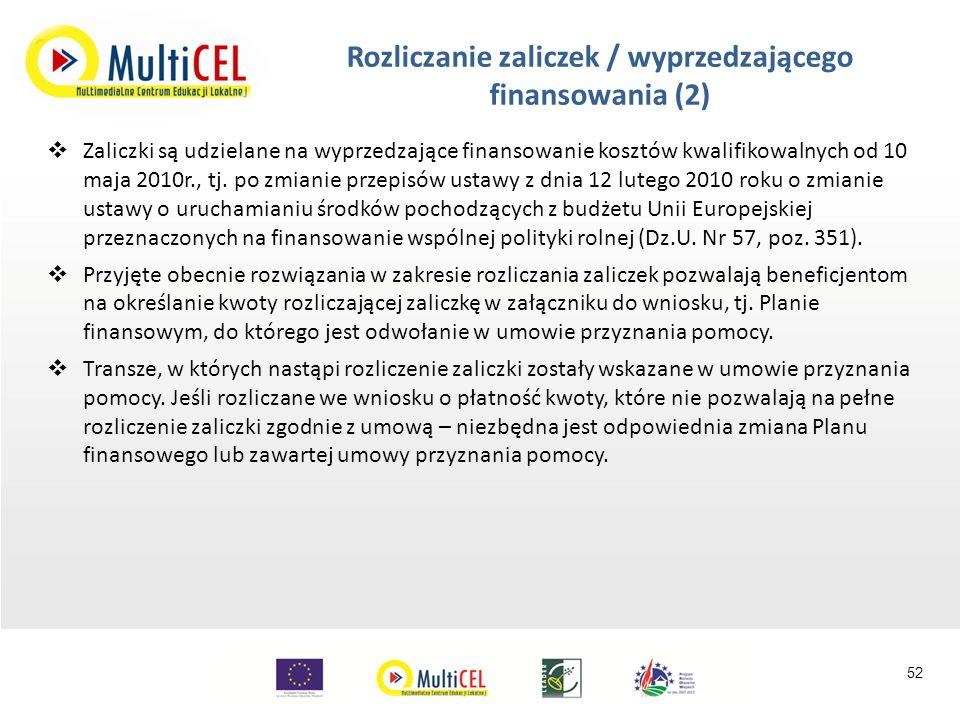  Zaliczki są udzielane na wyprzedzające finansowanie kosztów kwalifikowalnych od 10 maja 2010r., tj.