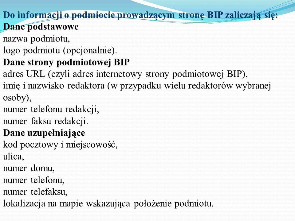 Do informacji o podmiocie prowadzącym stronę BIP zaliczają się: Dane podstawowe nazwa podmiotu, logo podmiotu (opcjonalnie).