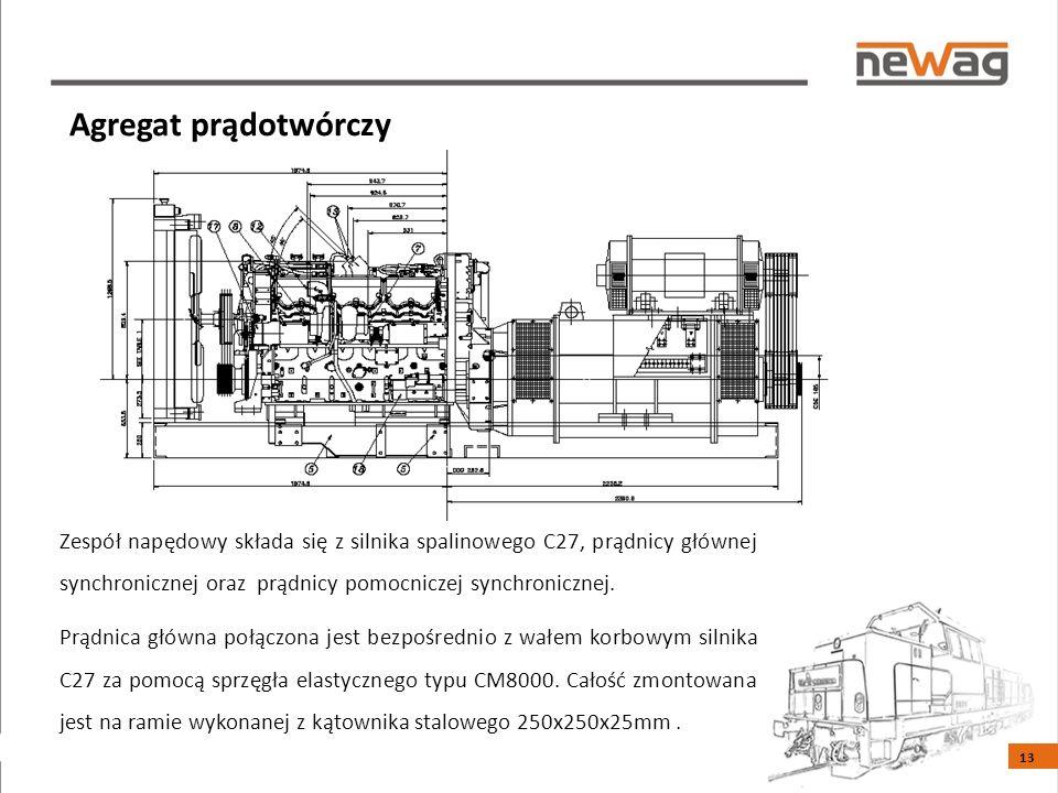 Agregat prądotwórczy Zespół napędowy składa się z silnika spalinowego C27, prądnicy głównej synchronicznej oraz prądnicy pomocniczej synchronicznej.