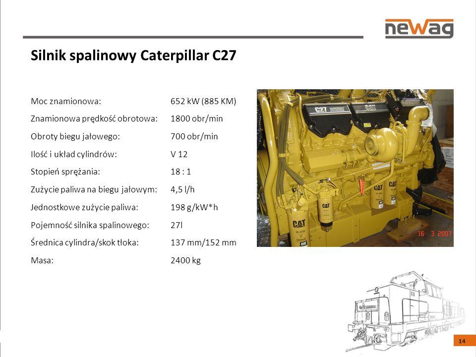 Silnik spalinowy Caterpillar C27 Moc znamionowa: 652 kW (885 KM) Znamionowa prędkość obrotowa: 1800 obr/min Obroty biegu jałowego: 700 obr/min Ilość i układ cylindrów: V 12 Stopień sprężania: 18 : 1 Zużycie paliwa na biegu jałowym: 4,5 l/h Jednostkowe zużycie paliwa: 198 g/kW*h Pojemność silnika spalinowego: 27l Średnica cylindra/skok tłoka: 137 mm/152 mm Masa: 2400 kg 14