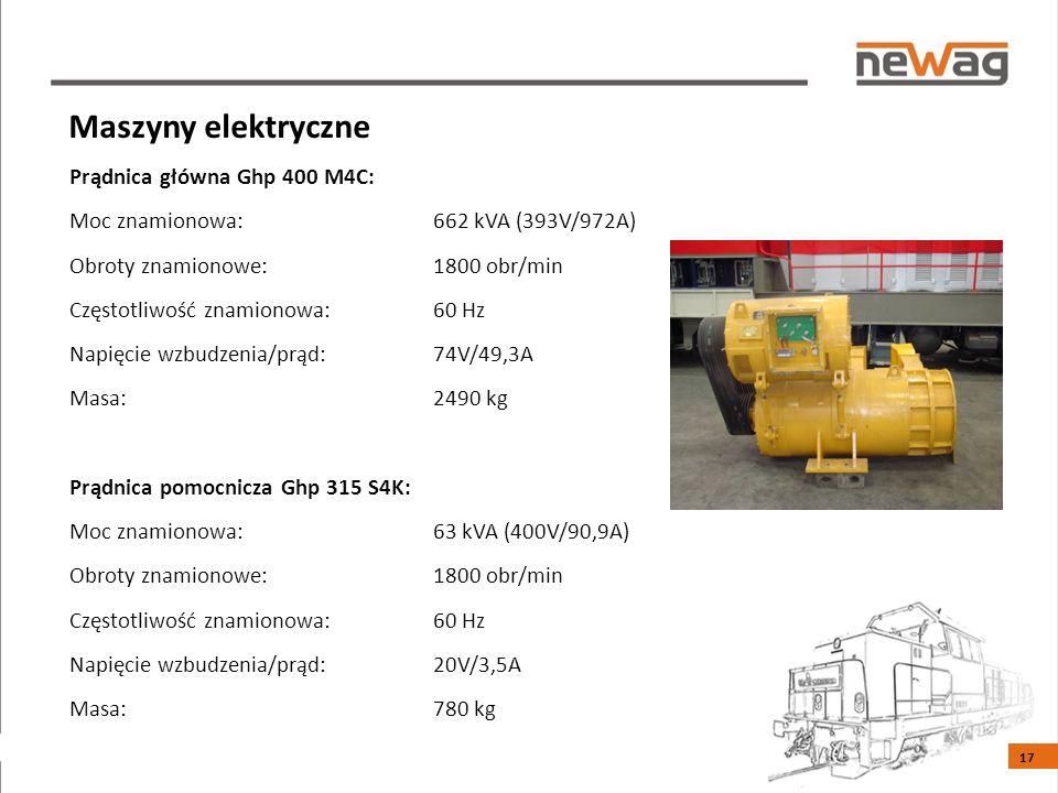 Prądnica główna Ghp 400 M4C: Moc znamionowa: 662 kVA (393V/972A) Obroty znamionowe:1800 obr/min Częstotliwość znamionowa:60 Hz Napięcie wzbudzenia/prąd:74V/49,3A Masa:2490 kg Prądnica pomocnicza Ghp 315 S4K: Moc znamionowa:63 kVA (400V/90,9A) Obroty znamionowe:1800 obr/min Częstotliwość znamionowa:60 Hz Napięcie wzbudzenia/prąd:20V/3,5A Masa:780 kg Maszyny elektryczne 17