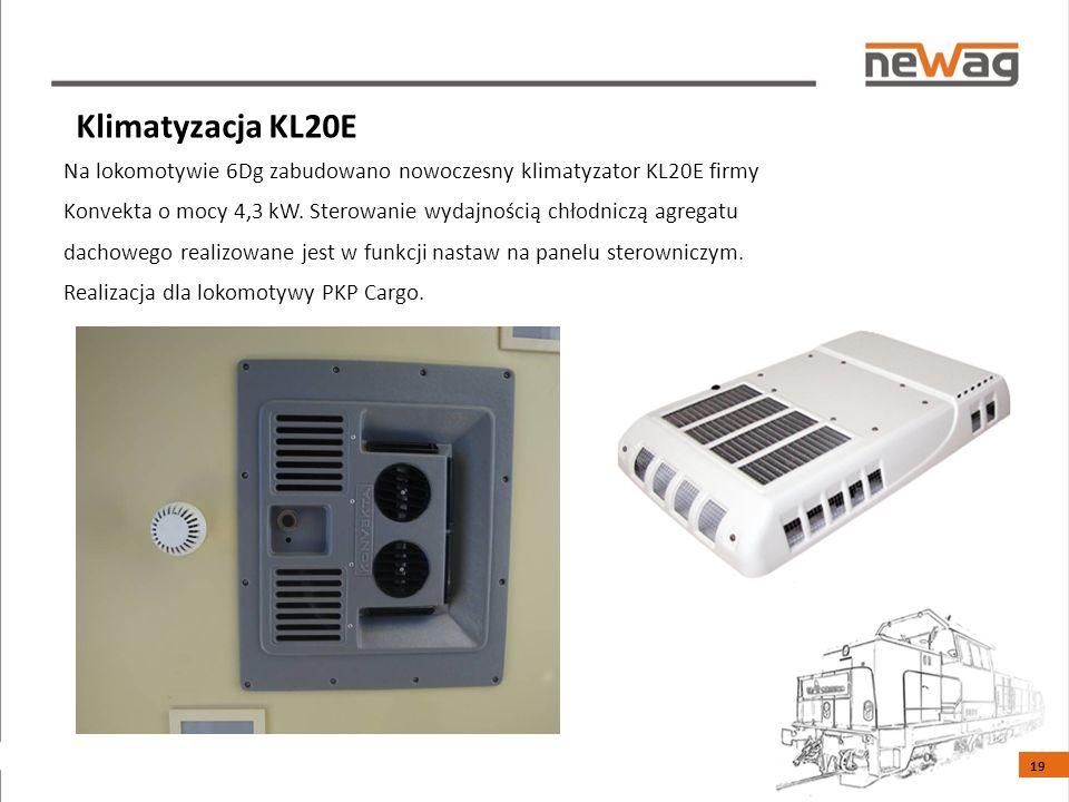 Na lokomotywie 6Dg zabudowano nowoczesny klimatyzator KL20E firmy Konvekta o mocy 4,3 kW.