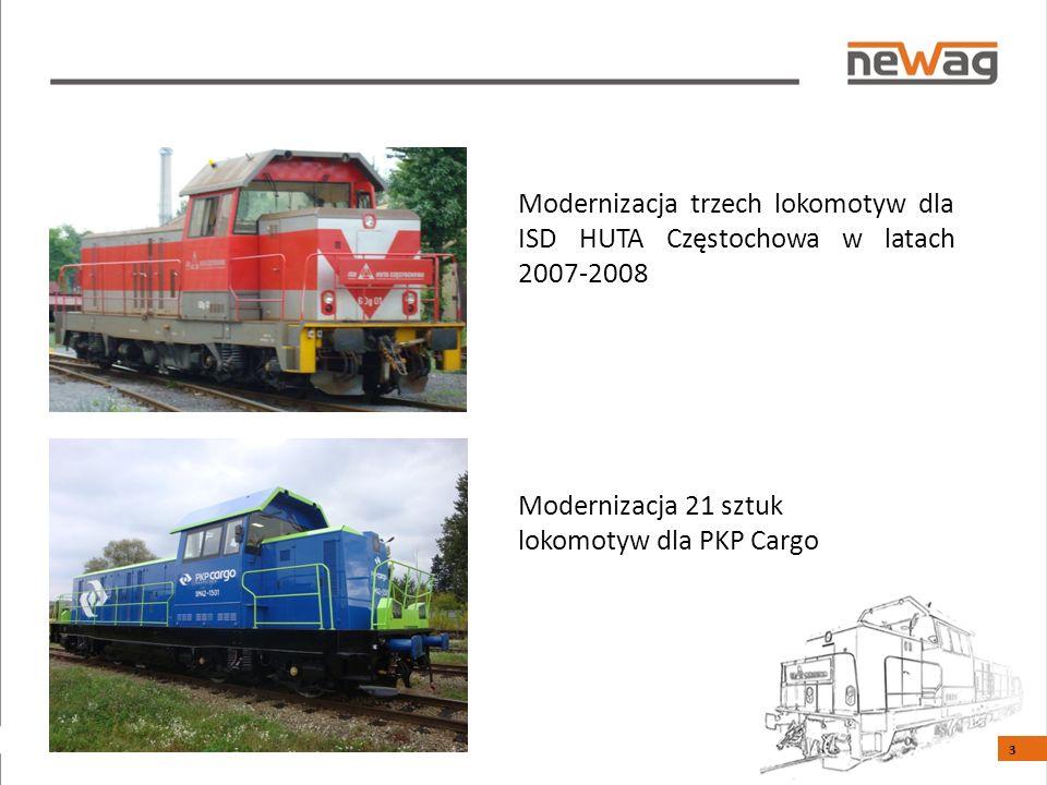 Modernizacja trzech lokomotyw dla ISD HUTA Częstochowa w latach 2007-2008 Modernizacja 21 sztuk lokomotyw dla PKP Cargo 3