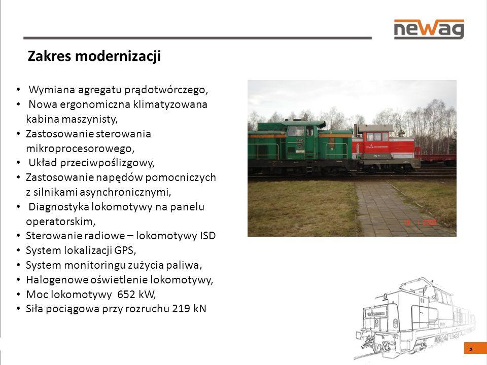 Zakres modernizacji Wymiana agregatu prądotwórczego, Nowa ergonomiczna klimatyzowana kabina maszynisty, Zastosowanie sterowania mikroprocesorowego, Układ przeciwpoślizgowy, Zastosowanie napędów pomocniczych z silnikami asynchronicznymi, Diagnostyka lokomotywy na panelu operatorskim, Sterowanie radiowe – lokomotywy ISD System lokalizacji GPS, System monitoringu zużycia paliwa, Halogenowe oświetlenie lokomotywy, Moc lokomotywy 652 kW, Siła pociągowa przy rozruchu 219 kN 5