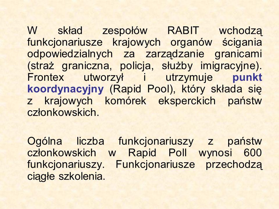 W skład zespołów RABIT wchodzą funkcjonariusze krajowych organów ścigania odpowiedzialnych za zarządzanie granicami (straż graniczna, policja, służby imigracyjne).