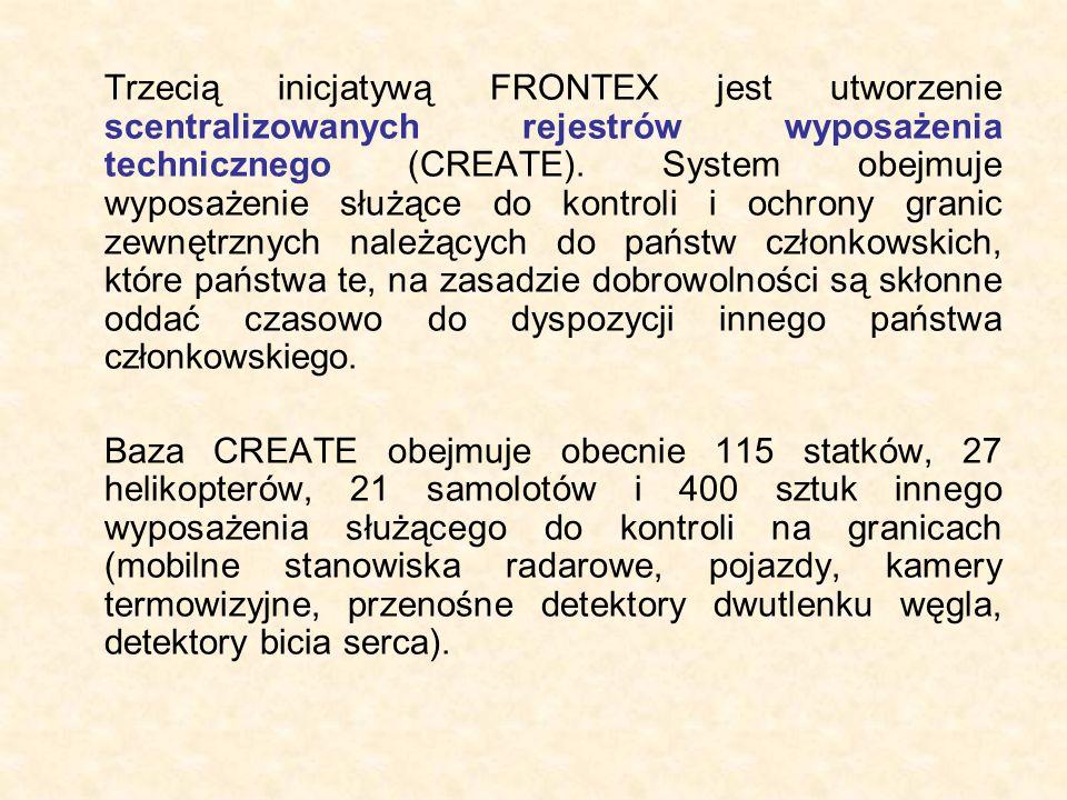 Trzecią inicjatywą FRONTEX jest utworzenie scentralizowanych rejestrów wyposażenia technicznego (CREATE). System obejmuje wyposażenie służące do kontr