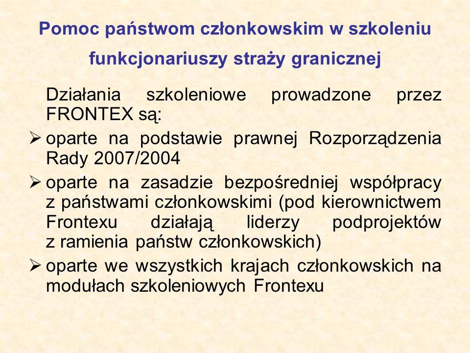 Pomoc państwom członkowskim w szkoleniu funkcjonariuszy straży granicznej Działania szkoleniowe prowadzone przez FRONTEX są:  oparte na podstawie pra