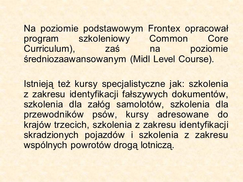 Na poziomie podstawowym Frontex opracował program szkoleniowy Common Core Curriculum), zaś na poziomie średniozaawansowanym (Midl Level Course). Istni