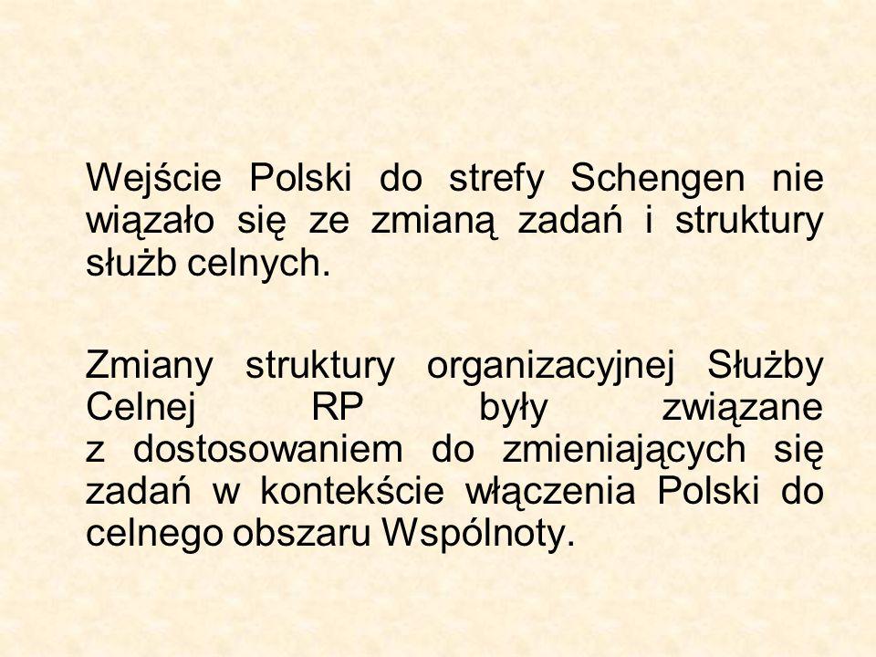 Wejście Polski do strefy Schengen nie wiązało się ze zmianą zadań i struktury służb celnych. Zmiany struktury organizacyjnej Służby Celnej RP były zwi