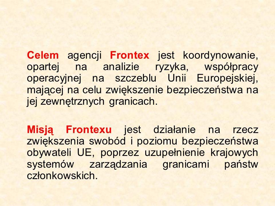 Status Frontexu Agencja Frontex została utworzona na mocy Rozporządzenia Rady (WE) nr 2007/2004 jako organ wspólnotowy posiadający osobowość prawną, cieszący się autonomią operacyjną i budżetową.