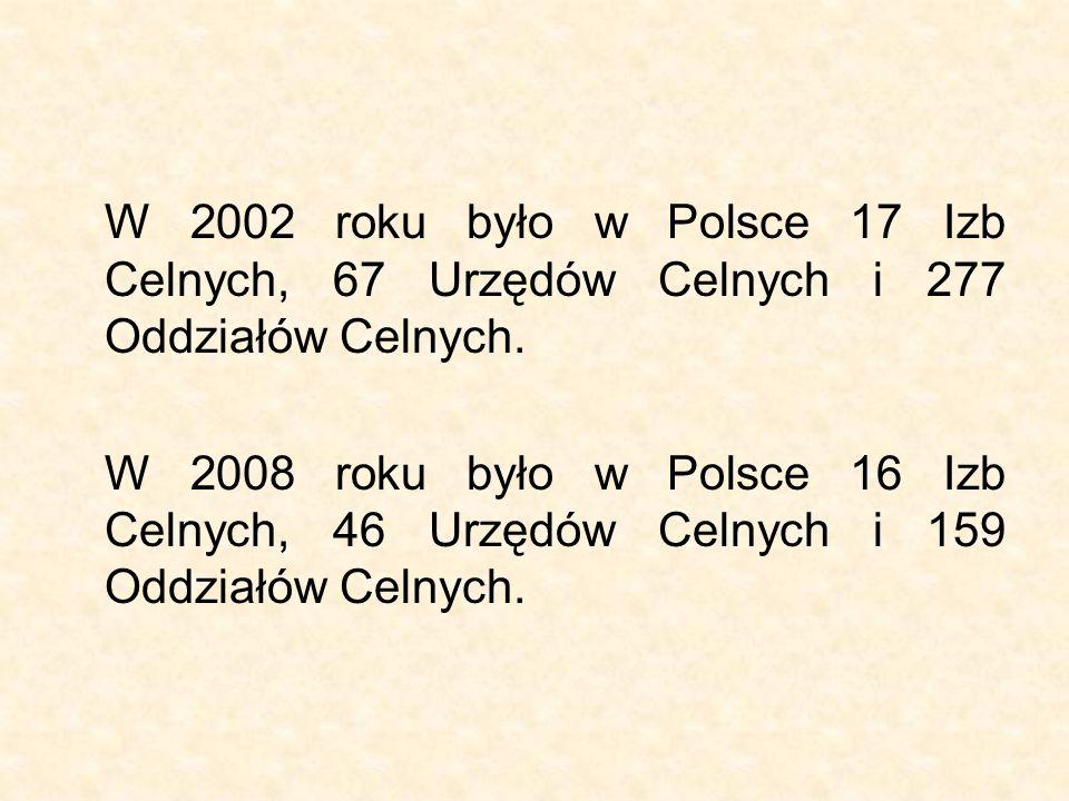 W 2002 roku było w Polsce 17 Izb Celnych, 67 Urzędów Celnych i 277 Oddziałów Celnych. W 2008 roku było w Polsce 16 Izb Celnych, 46 Urzędów Celnych i 1