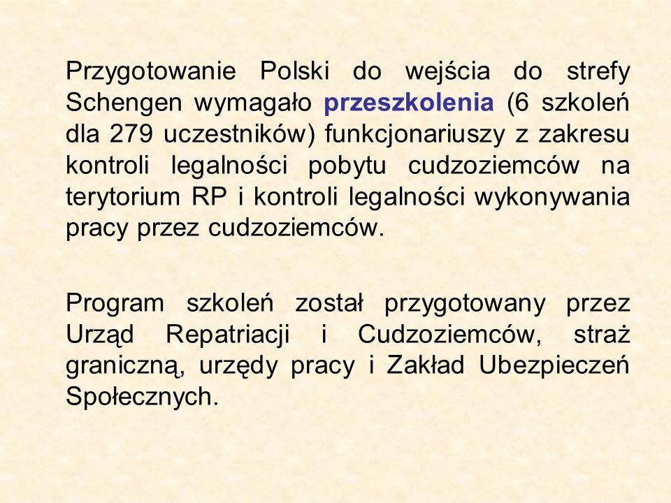 Przygotowanie Polski do wejścia do strefy Schengen wymagało przeszkolenia (6 szkoleń dla 279 uczestników) funkcjonariuszy z zakresu kontroli legalności pobytu cudzoziemców na terytorium RP i kontroli legalności wykonywania pracy przez cudzoziemców.