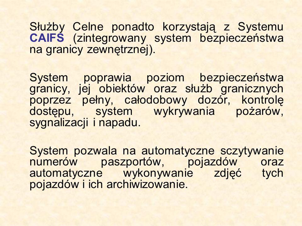 Służby Celne ponadto korzystają z Systemu CAIFS (zintegrowany system bezpieczeństwa na granicy zewnętrznej). System poprawia poziom bezpieczeństwa gra