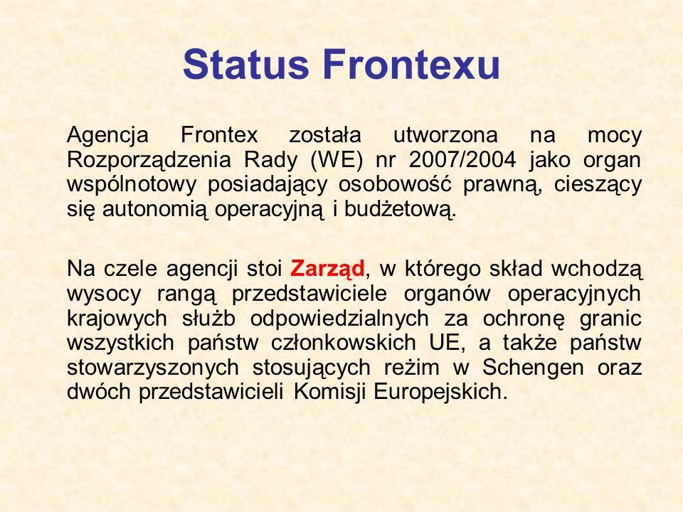 Status Frontexu Agencja Frontex została utworzona na mocy Rozporządzenia Rady (WE) nr 2007/2004 jako organ wspólnotowy posiadający osobowość prawną, c