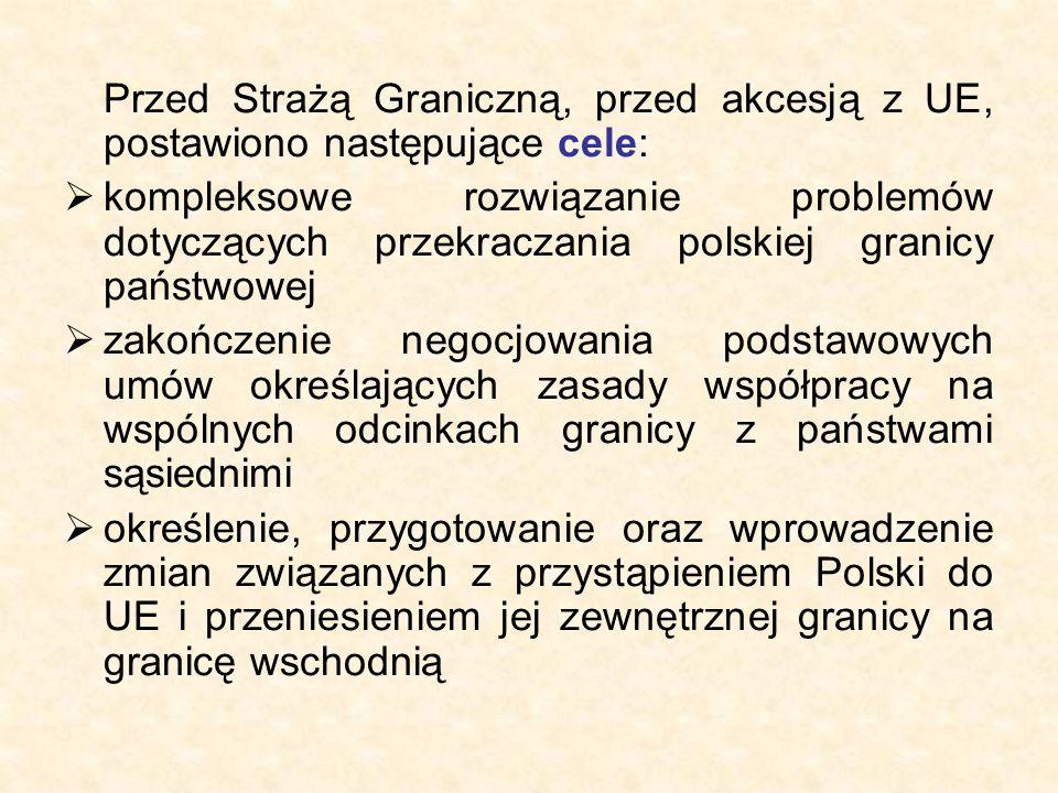 Przed Strażą Graniczną, przed akcesją z UE, postawiono następujące cele:  kompleksowe rozwiązanie problemów dotyczących przekraczania polskiej granicy państwowej  zakończenie negocjowania podstawowych umów określających zasady współpracy na wspólnych odcinkach granicy z państwami sąsiednimi  określenie, przygotowanie oraz wprowadzenie zmian związanych z przystąpieniem Polski do UE i przeniesieniem jej zewnętrznej granicy na granicę wschodnią