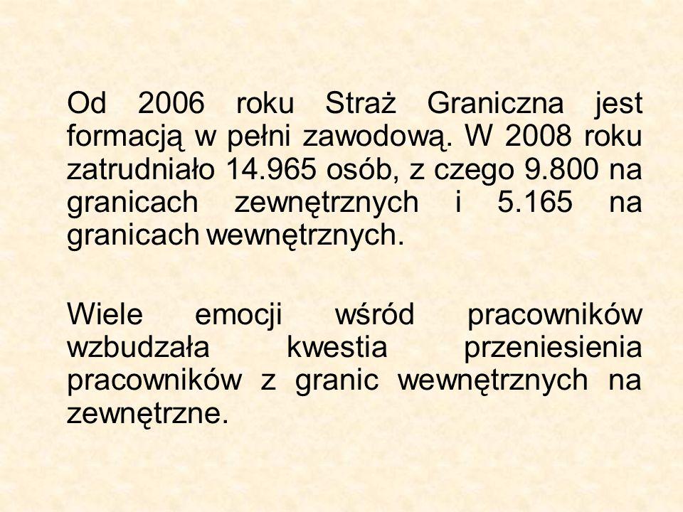 Od 2006 roku Straż Graniczna jest formacją w pełni zawodową. W 2008 roku zatrudniało 14.965 osób, z czego 9.800 na granicach zewnętrznych i 5.165 na g