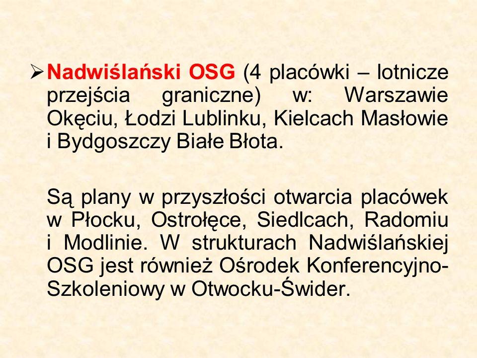  Nadwiślański OSG (4 placówki – lotnicze przejścia graniczne) w: Warszawie Okęciu, Łodzi Lublinku, Kielcach Masłowie i Bydgoszczy Białe Błota. Są pla