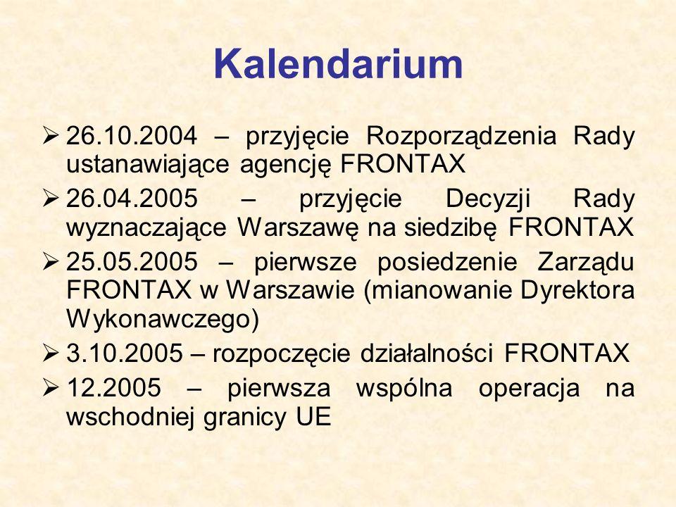 Kalendarium  26.10.2004 – przyjęcie Rozporządzenia Rady ustanawiające agencję FRONTAX  26.04.2005 – przyjęcie Decyzji Rady wyznaczające Warszawę na siedzibę FRONTAX  25.05.2005 – pierwsze posiedzenie Zarządu FRONTAX w Warszawie (mianowanie Dyrektora Wykonawczego)  3.10.2005 – rozpoczęcie działalności FRONTAX  12.2005 – pierwsza wspólna operacja na wschodniej granicy UE