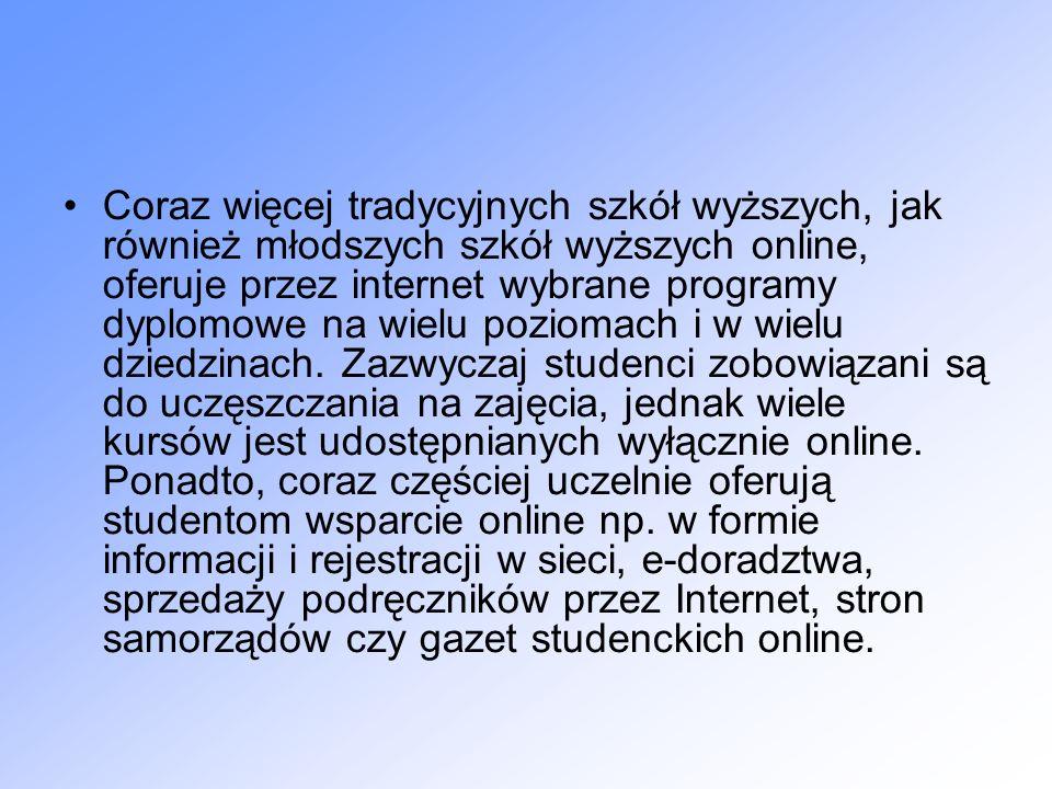 Coraz więcej tradycyjnych szkół wyższych, jak również młodszych szkół wyższych online, oferuje przez internet wybrane programy dyplomowe na wielu poziomach i w wielu dziedzinach.