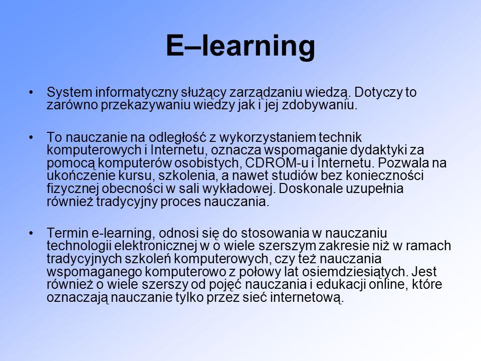 E–learning System informatyczny służący zarządzaniu wiedzą.