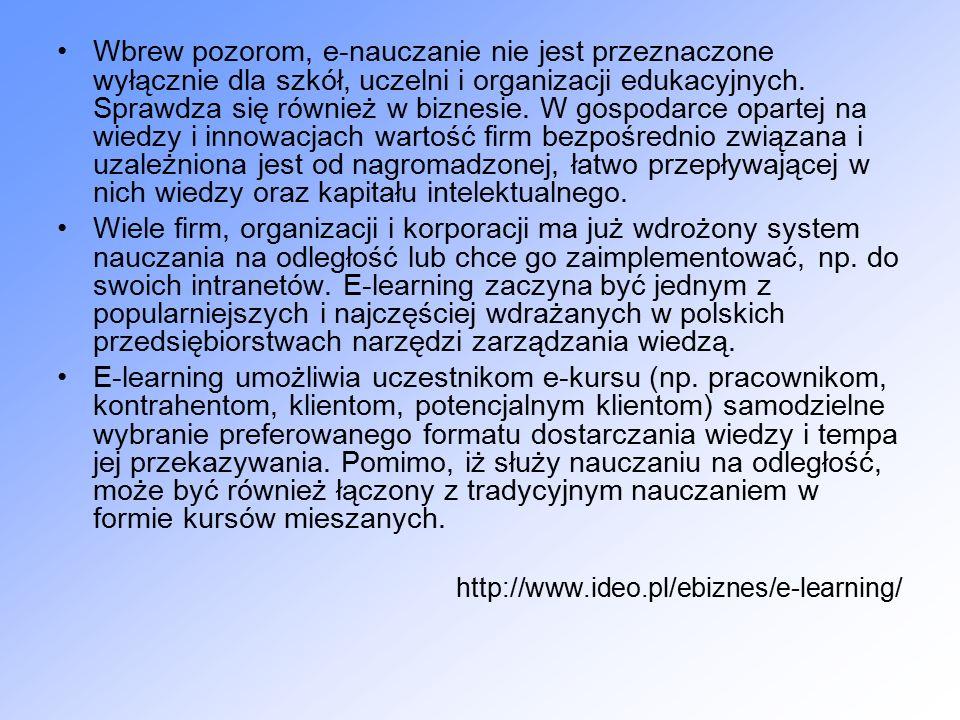 Typowe formy pracy z systemem e-learningowym Tryb pracy użytkownika (uczącego się) Tryb pracy projektanta (w przybliżeniu można go nazwać trybem pracy nauczyciela) Tryb pracy administratora (zarządcy systemu informatycznego)