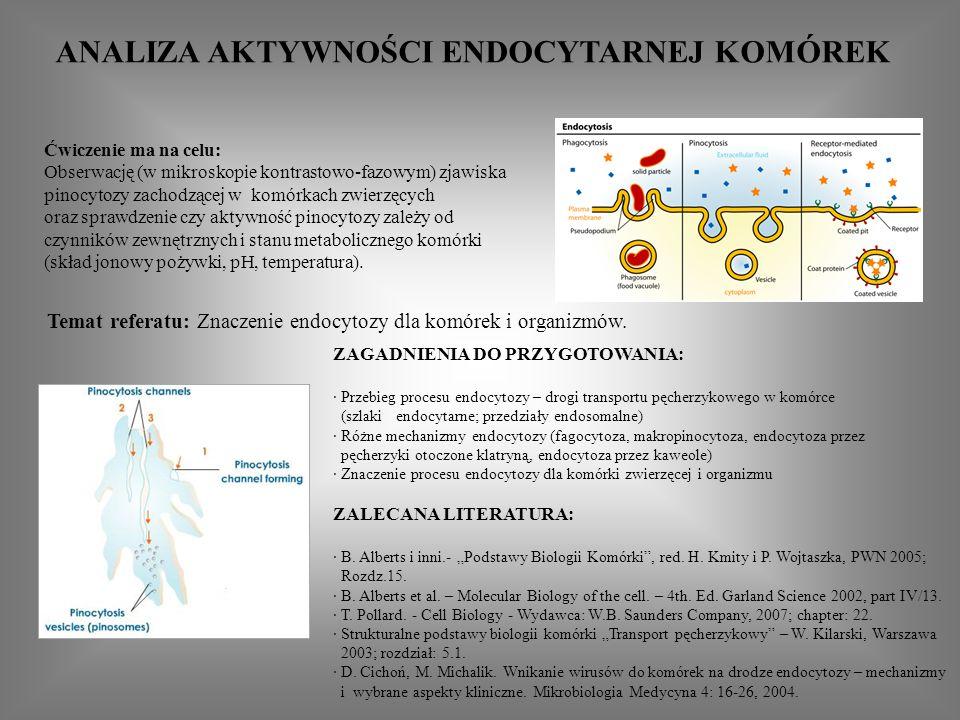 ANALIZA AKTYWNOŚCI ENDOCYTARNEJ KOMÓREK ZAGADNIENIA DO PRZYGOTOWANIA: · Przebieg procesu endocytozy – drogi transportu pęcherzykowego w komórce (szlaki endocytarne; przedziały endosomalne) · Różne mechanizmy endocytozy (fagocytoza, makropinocytoza, endocytoza przez pęcherzyki otoczone klatryną, endocytoza przez kaweole) · Znaczenie procesu endocytozy dla komórki zwierzęcej i organizmu ZALECANA LITERATURA: · B.