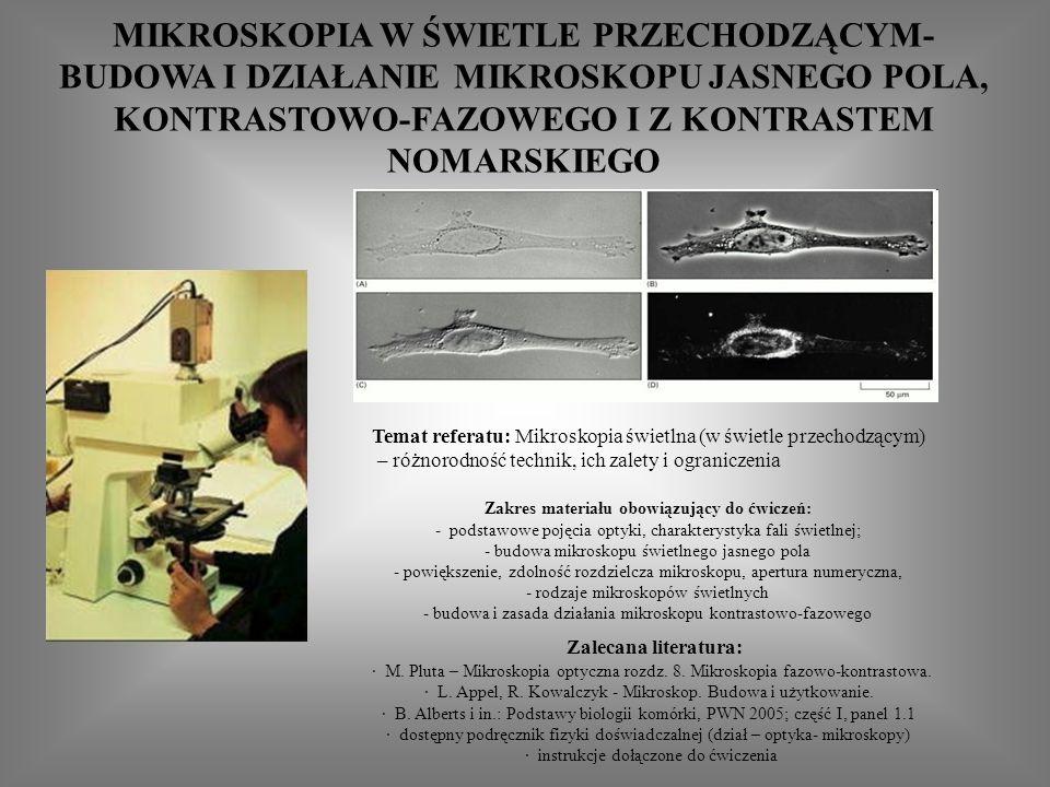 Zalecana literatura: · M.Pluta – Mikroskopia optyczna rozdz.