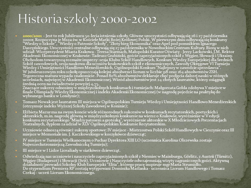 2000/2001 - Jest to rok Jubileuszu 50-lecia istnienia szkoły. Główne uroczystości odbywają się 26 i 27 października 2000r. Rozpoczyna je Msza św. w Ko