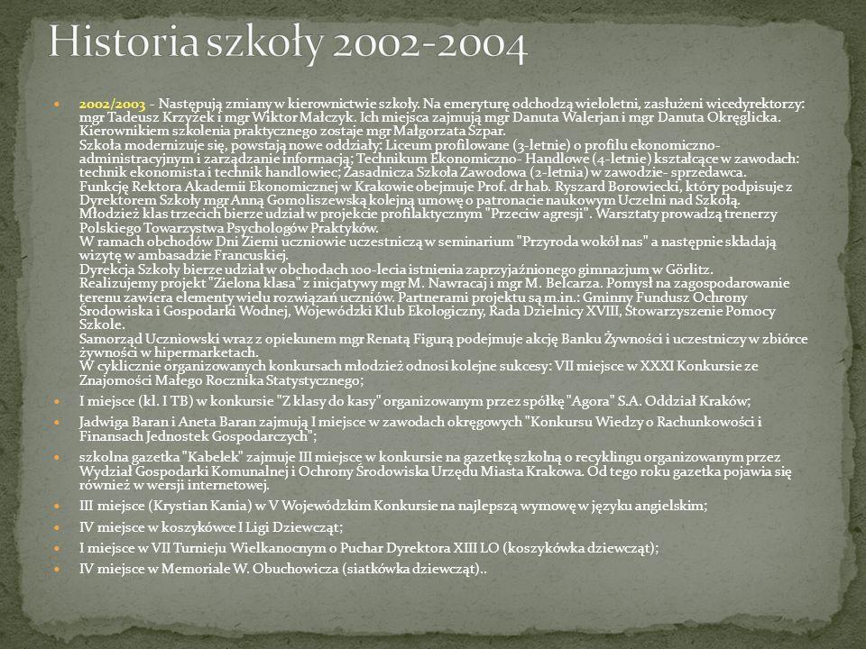 2002/2003 - Następują zmiany w kierownictwie szkoły. Na emeryturę odchodzą wieloletni, zasłużeni wicedyrektorzy: mgr Tadeusz Krzyżek i mgr Wiktor Małc
