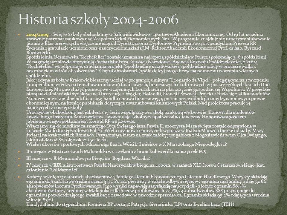 2004/2005 - Święto Szkoły obchodzimy w Sali widowiskowo- sportowej Akademii Ekonomicznej. Od 19 lat uczelnia sprawuje patronat naukowy nad Zespołem Sz