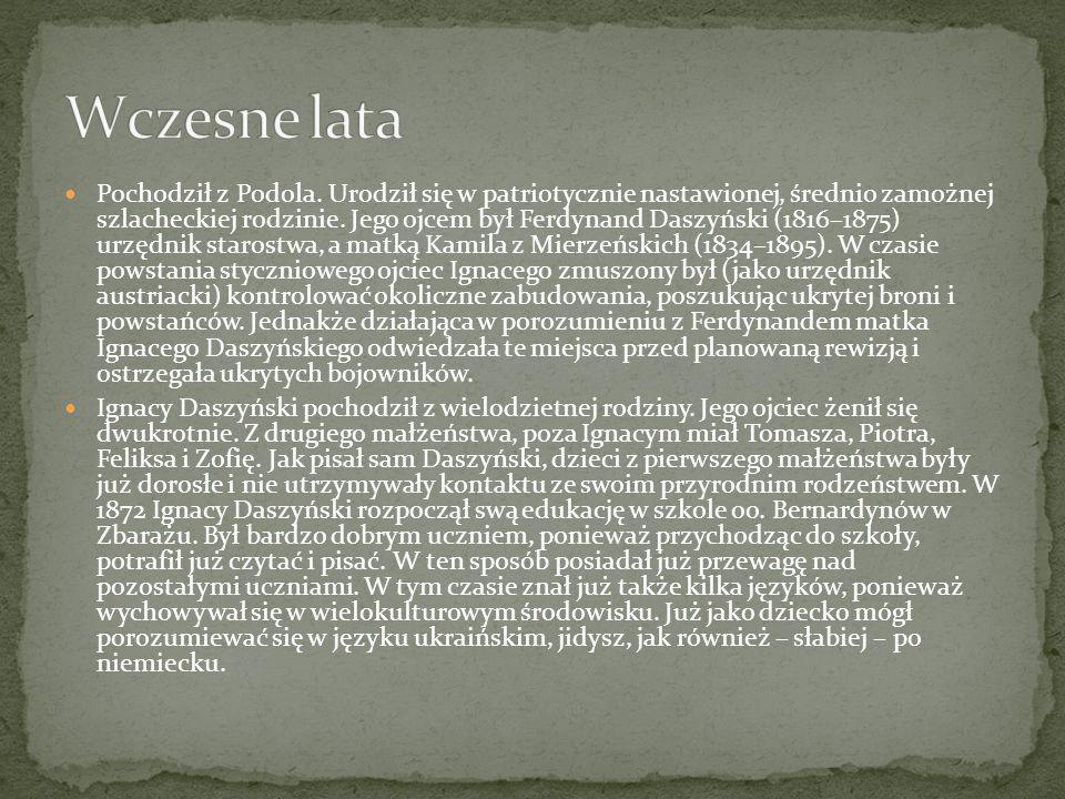 Pochodził z Podola. Urodził się w patriotycznie nastawionej, średnio zamożnej szlacheckiej rodzinie. Jego ojcem był Ferdynand Daszyński (1816–1875) ur