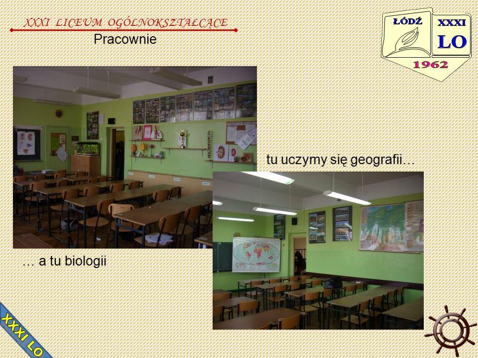 Pracownie XXXI LICEUM OGÓLNOKSZTAŁCĄCE … a tu biologii tu uczymy się geografii…