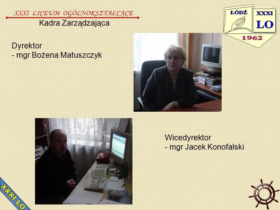 Kadra Zarządzająca Dyrektor - mgr Bożena Matuszczyk Wicedyrektor - mgr Jacek Konofalski XXXI LICEUM OGÓLNOKSZTAŁCĄCE