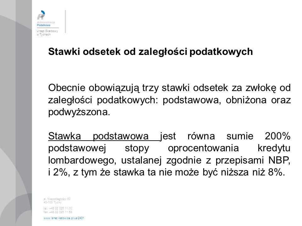 Urząd Skarbowy w Tychach al. Niepodległości 60 43-100 Tychy tel.: +48 32 325 11 00 fax :+48 32 325 11 59 www.isnet.katowice.pl/us/2431 Stawki odsetek
