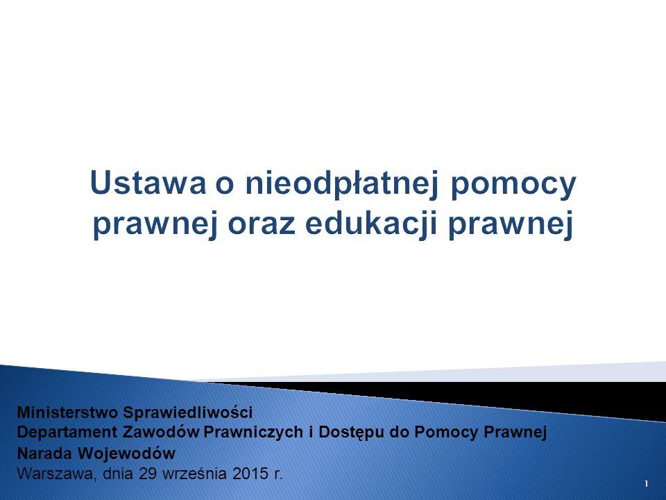 Ustawa o nieodpłatnej pomocy prawnej oraz edukacji prawnej Ministerstwo Sprawiedliwości Departament Zawodów Prawniczych i Dostępu do Pomocy Prawnej Narada Wojewodów Warszawa, dnia 29 września 2015 r.